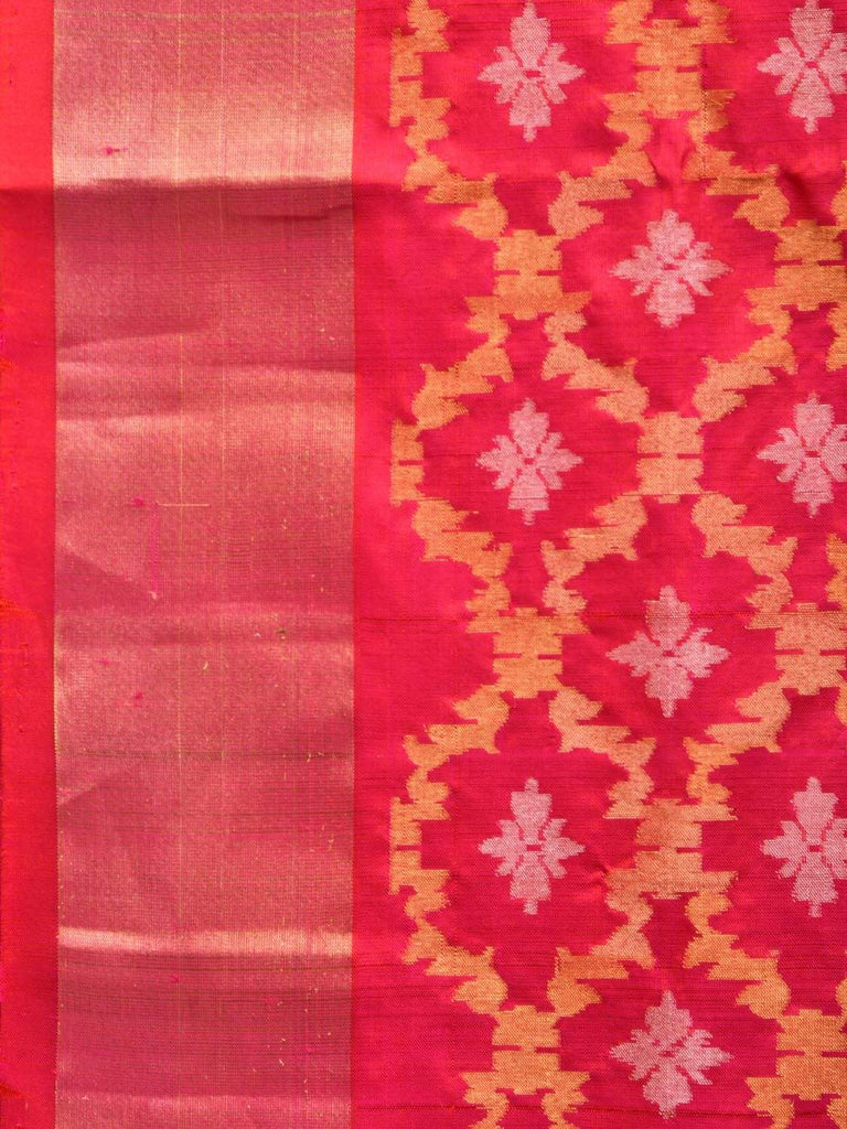 Pink Uppada Silk Handloom Saree with All Over Grill Design u1722