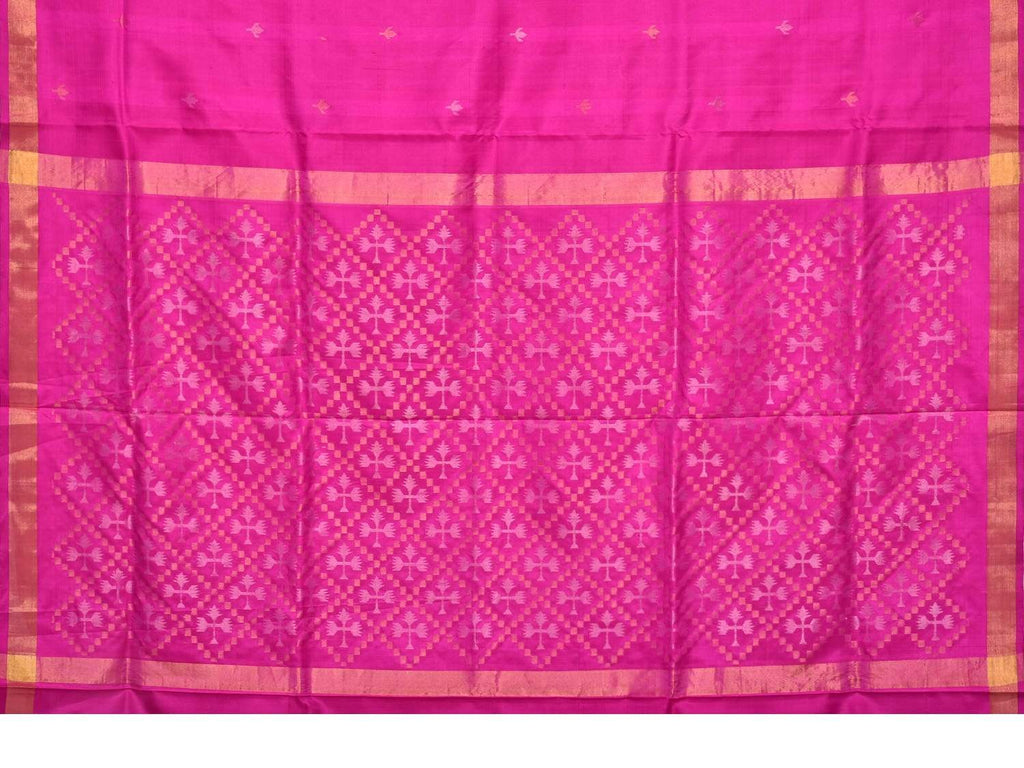 Pink Uppada Silk Handloom Saree with Jamdani Pallu Design u1542