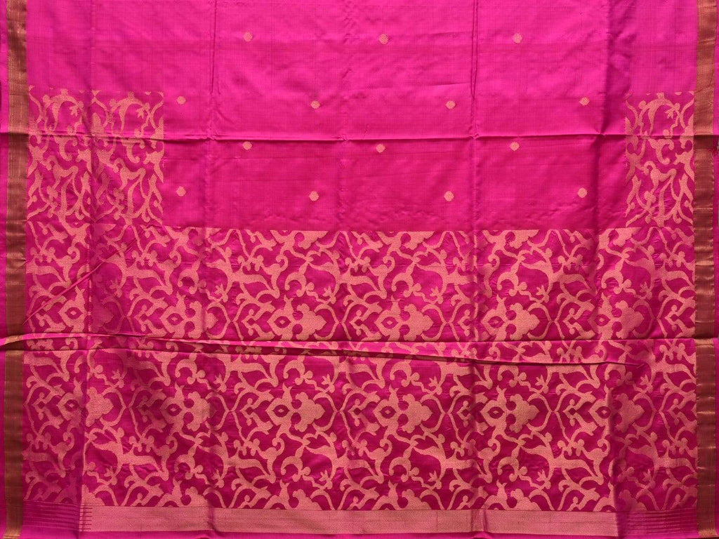 Pink Uppada Silk Handloom Saree with Jungla Pallu Design u1718