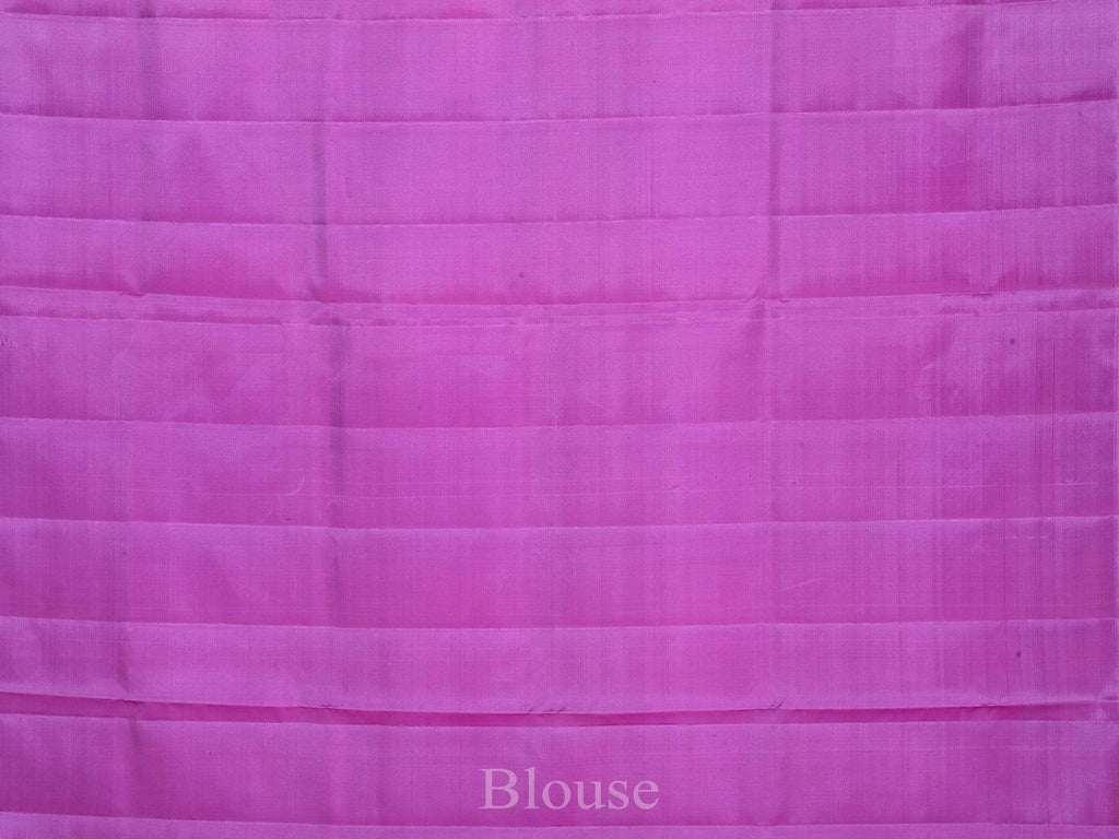 Purple and Lavender Kanchipuram Silk Handloom Saree with Peacock Buta and Checks Design K0387
