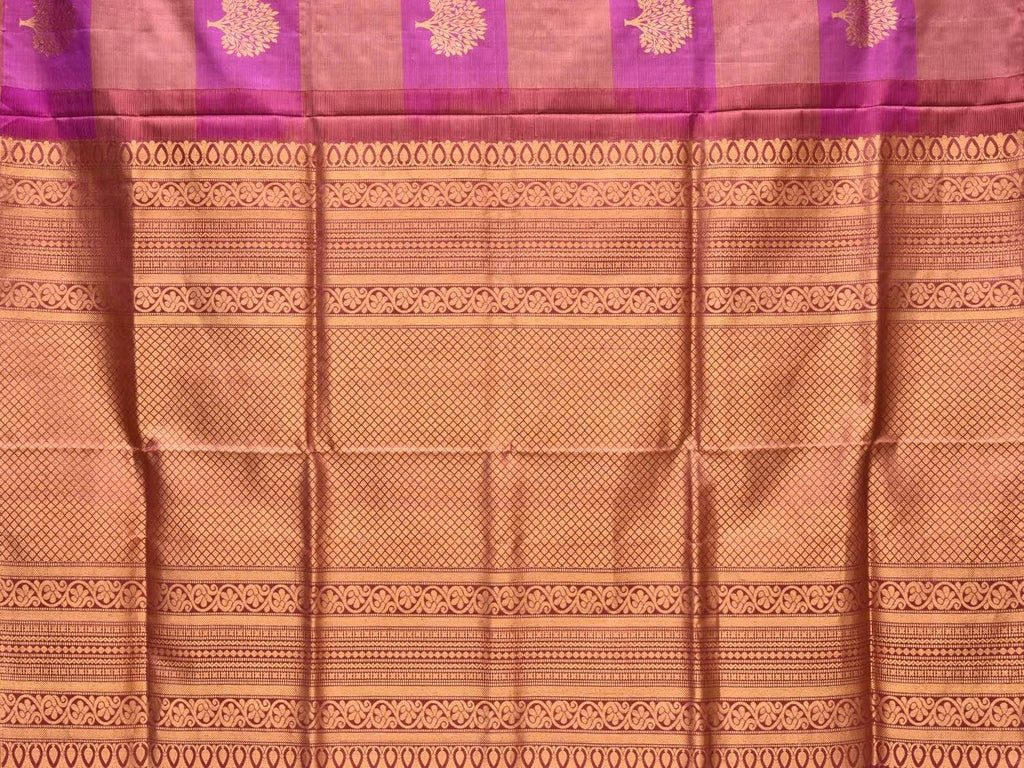 Purple and Peach Kanchipuram Silk Handloom Saree with Checks and Tree Buta Design k0504