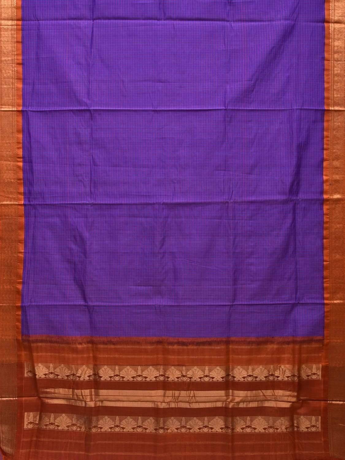 Purple and Rust Gadwal Silk Handloom Saree with Checks Design g0258