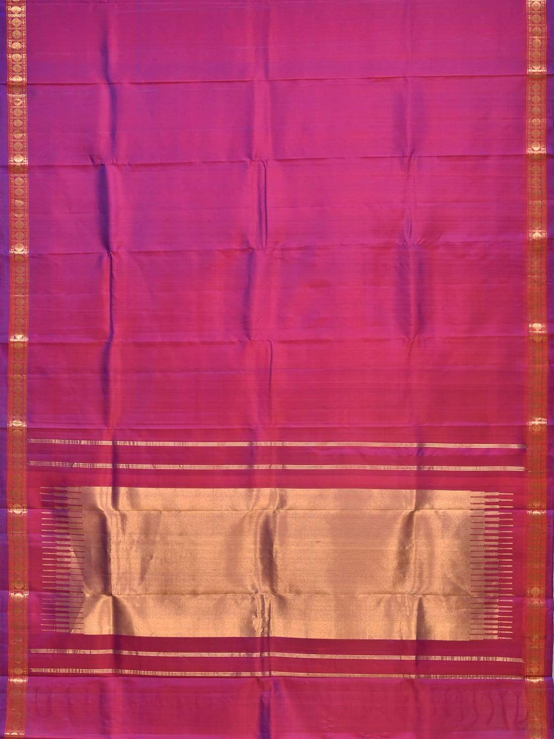 Purple Gadwal Silk Handloom Saree with Small Brocade Border Design g0244