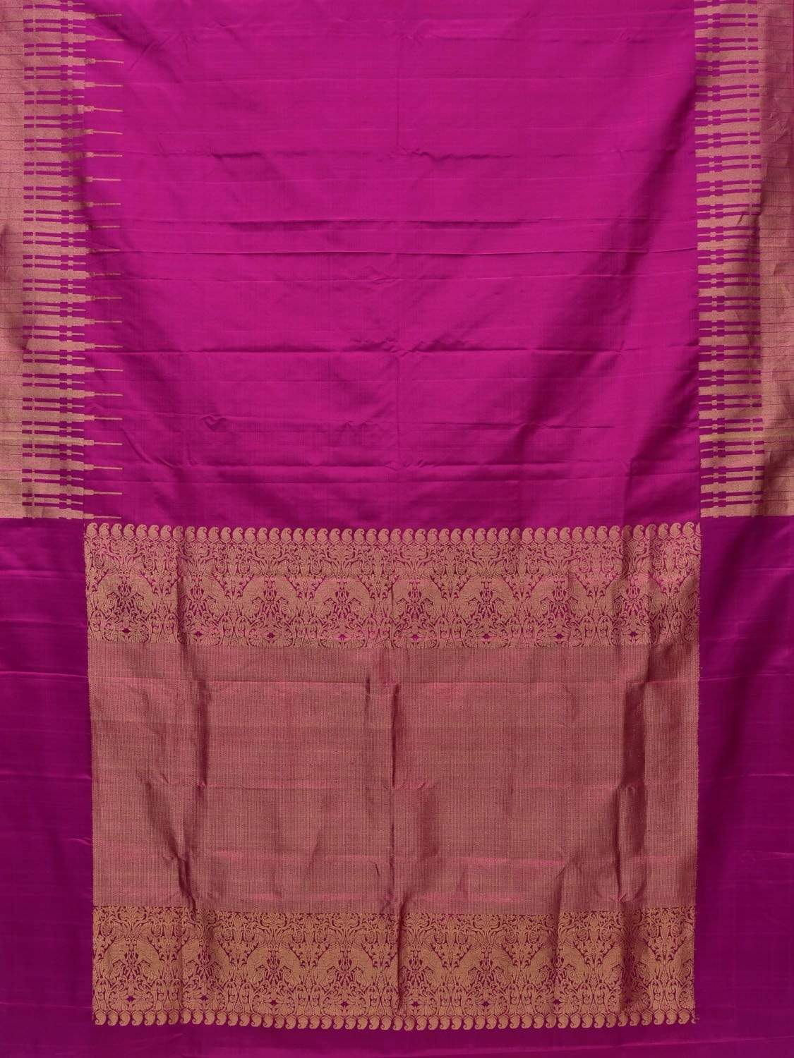Purple Kanchipuram Silk Handloom Saree with Border Temple Design k0497