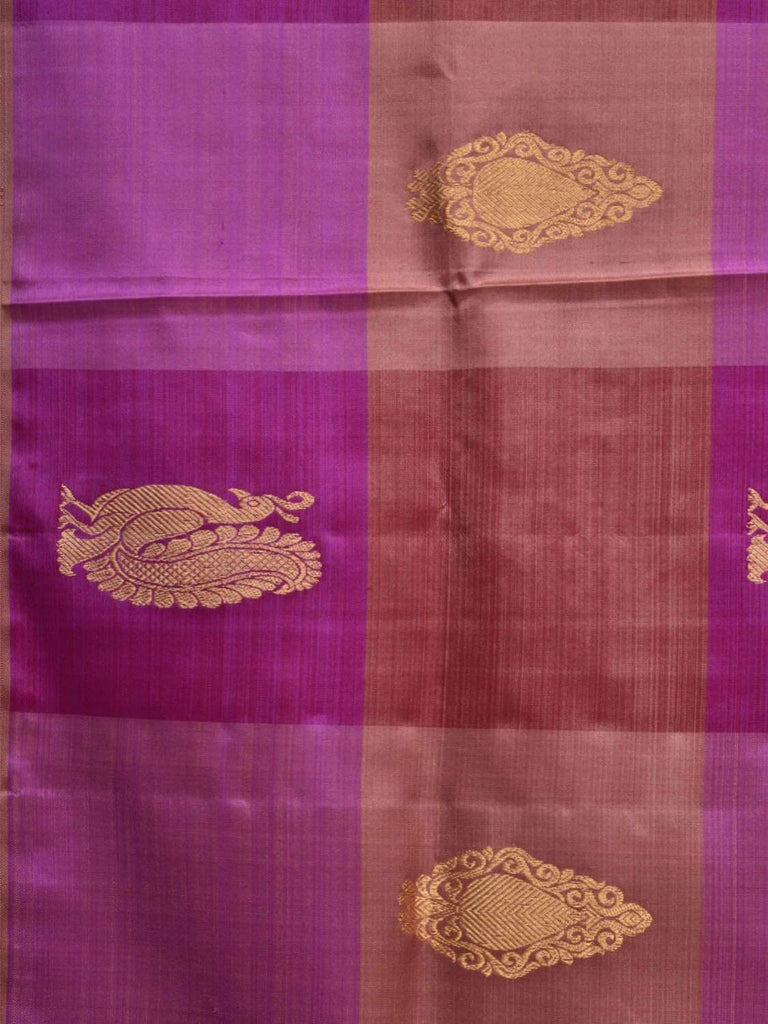 Purple Kanchipuram Silk Handloom Saree with Checks and Buta Design k0468