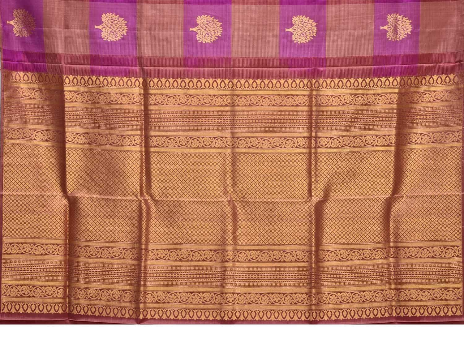 Purple Kanchipuram Silk Handloom Saree with Checks and Tree Buta Design K0466