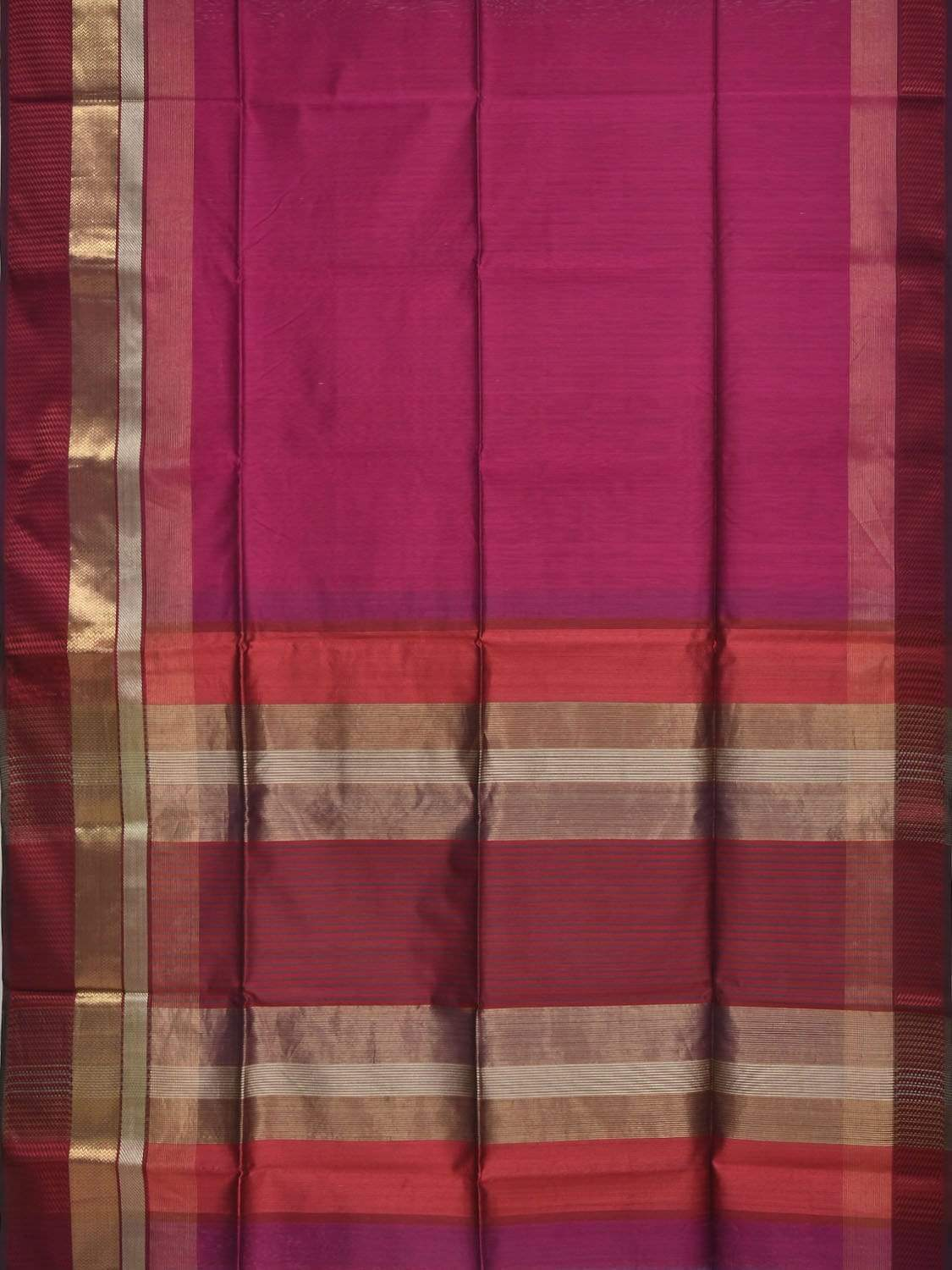 Purple Maheshwari Cotton Silk Handloom Plain Saree with One Side Big Border Design m0113