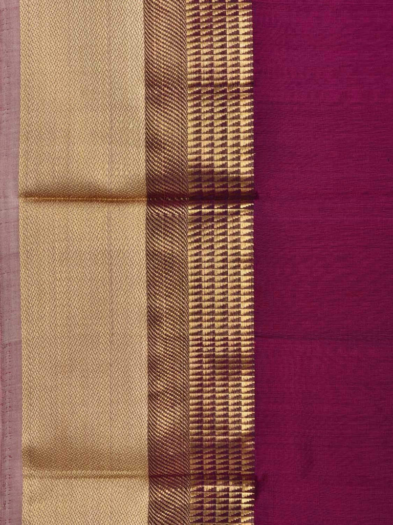 Purple Maheshwari Cotton Silk Handloom Saree with Border Design M0079