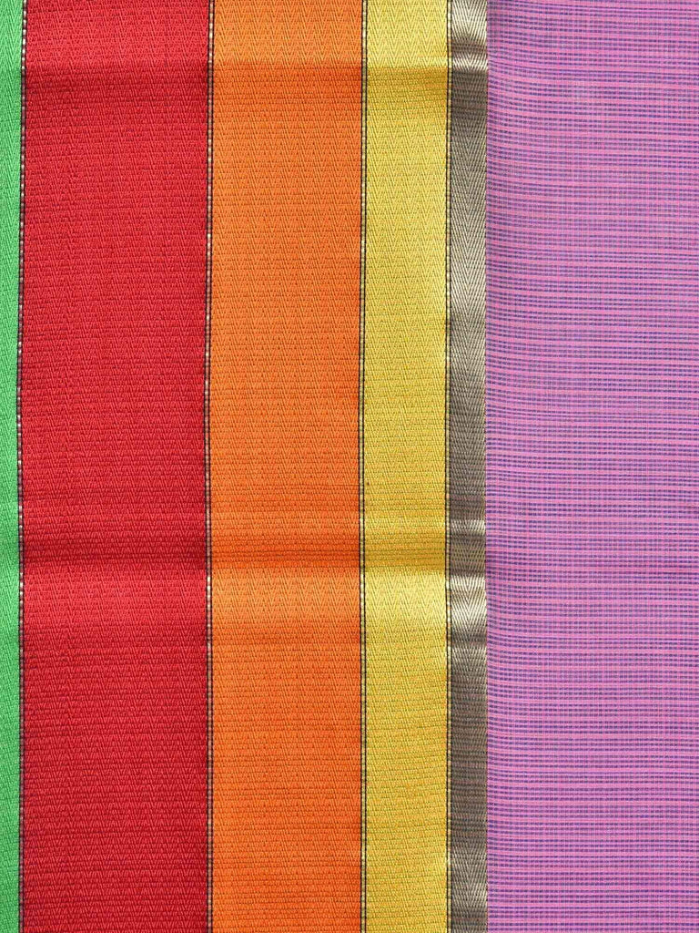Purple Maheshwari Cotton Silk Handloom Saree with Triple Border Design M0063