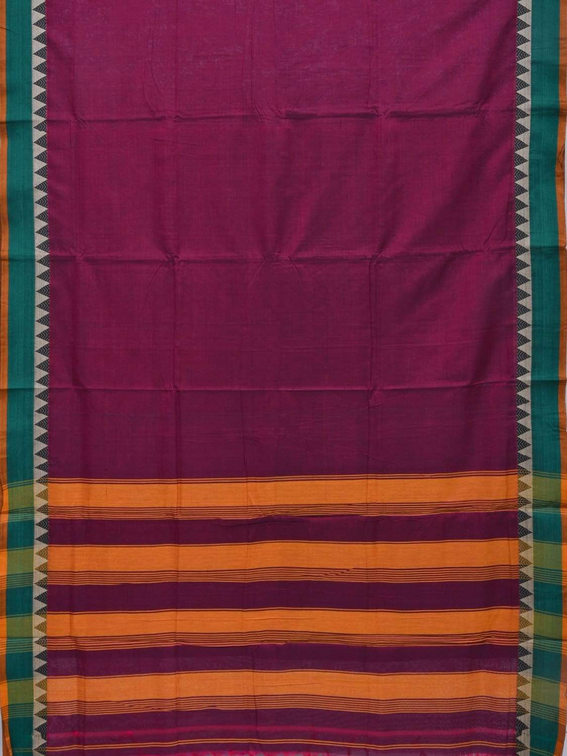 Purple Narayanpet Cotton Handloom Plain Saree with Temple Border Design No Blouse np0230