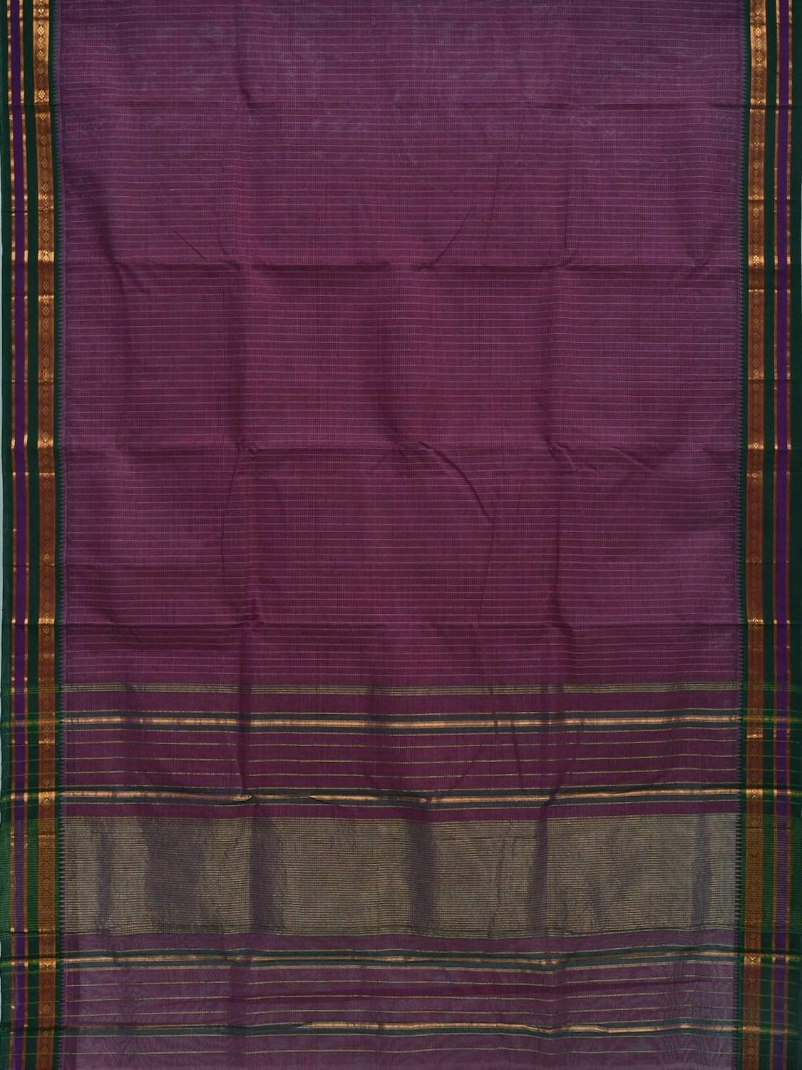 Purple Narayanpet Cotton Handloom Saree with Checks and Border Design No Blouse np0243
