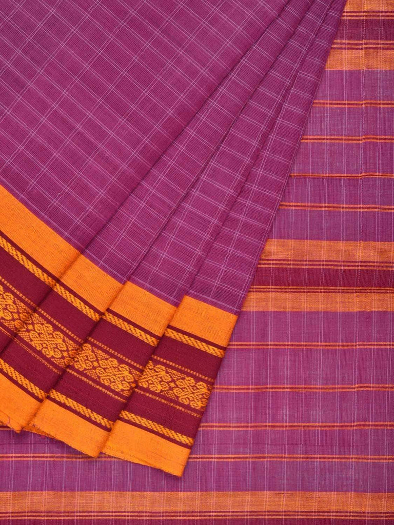 Purple Narayanpet Cotton Handloom Saree with Checks and Border Design No Blouse np0247