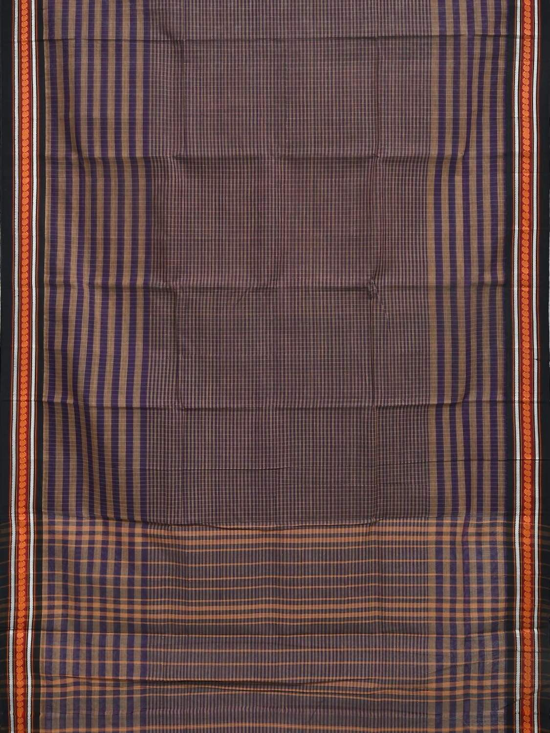 Purple Narayanpet Cotton Handloom Saree with Checks and Strips Design No Blouse np0251