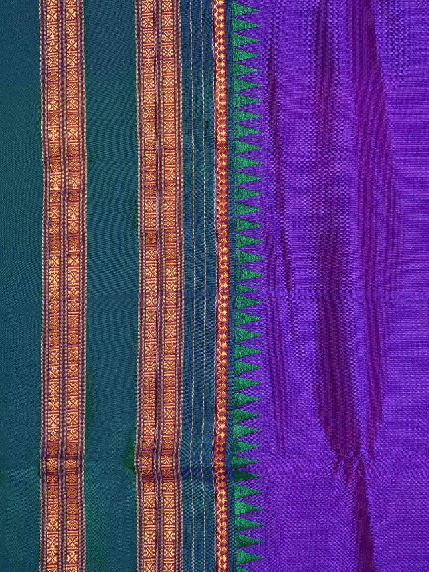 Purple Narayanpet Silk Handloom Plain Saree with Temple Border No Blouse Np0183
