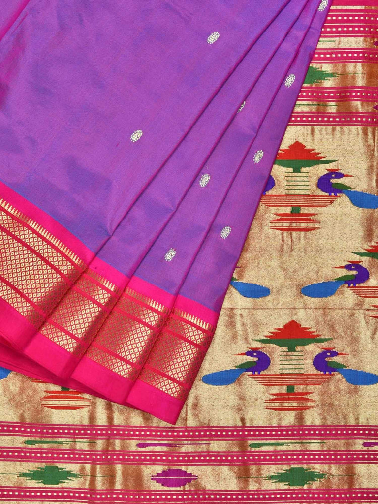 Purple Paithani Silk Handloom Saree with Double Pallu Design P0316