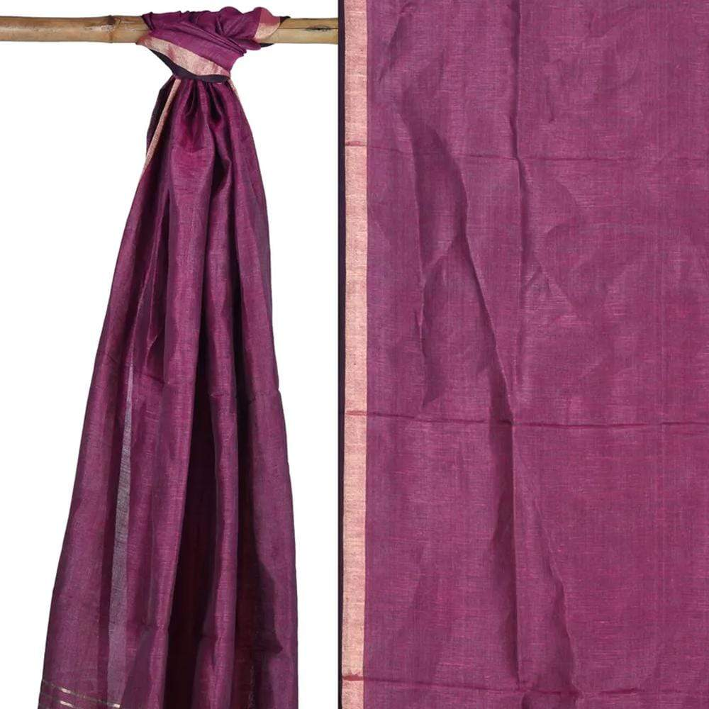 Purple Tussar Handloom Dupatta with Zari Border ds1753
