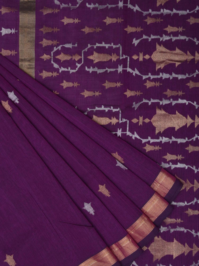 Purple Uppada Cotton Handloom Saree with Pallu Design u1310