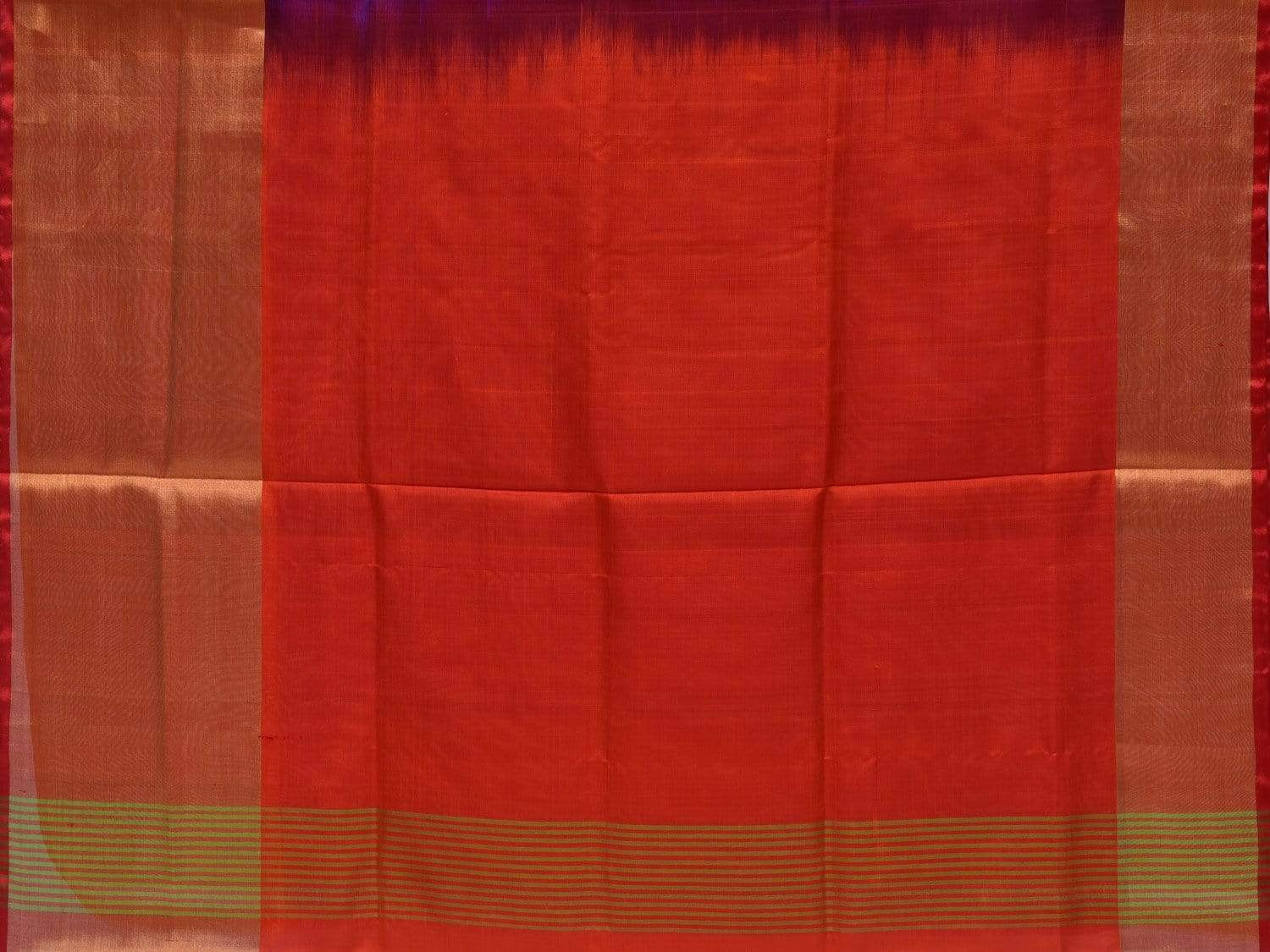 Purple Uppada Silk Handloom Plain Saree with Contrast Pallu u1596