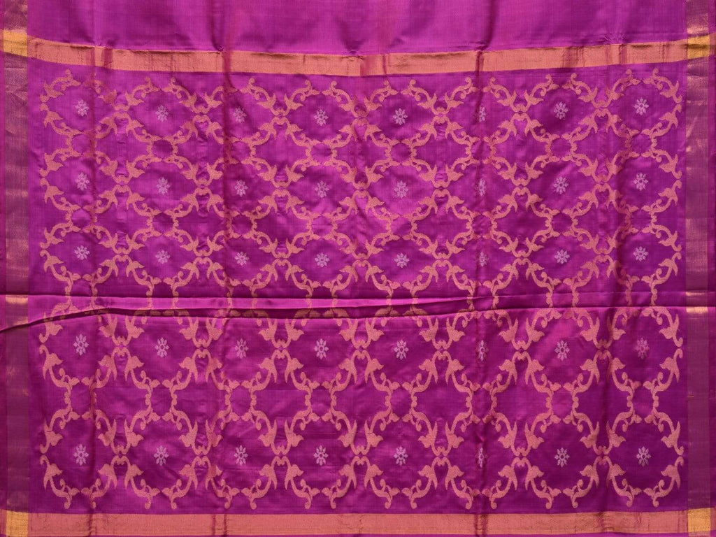 Purple Uppada Silk Handloom Saree with Grill Pallu Design u1742