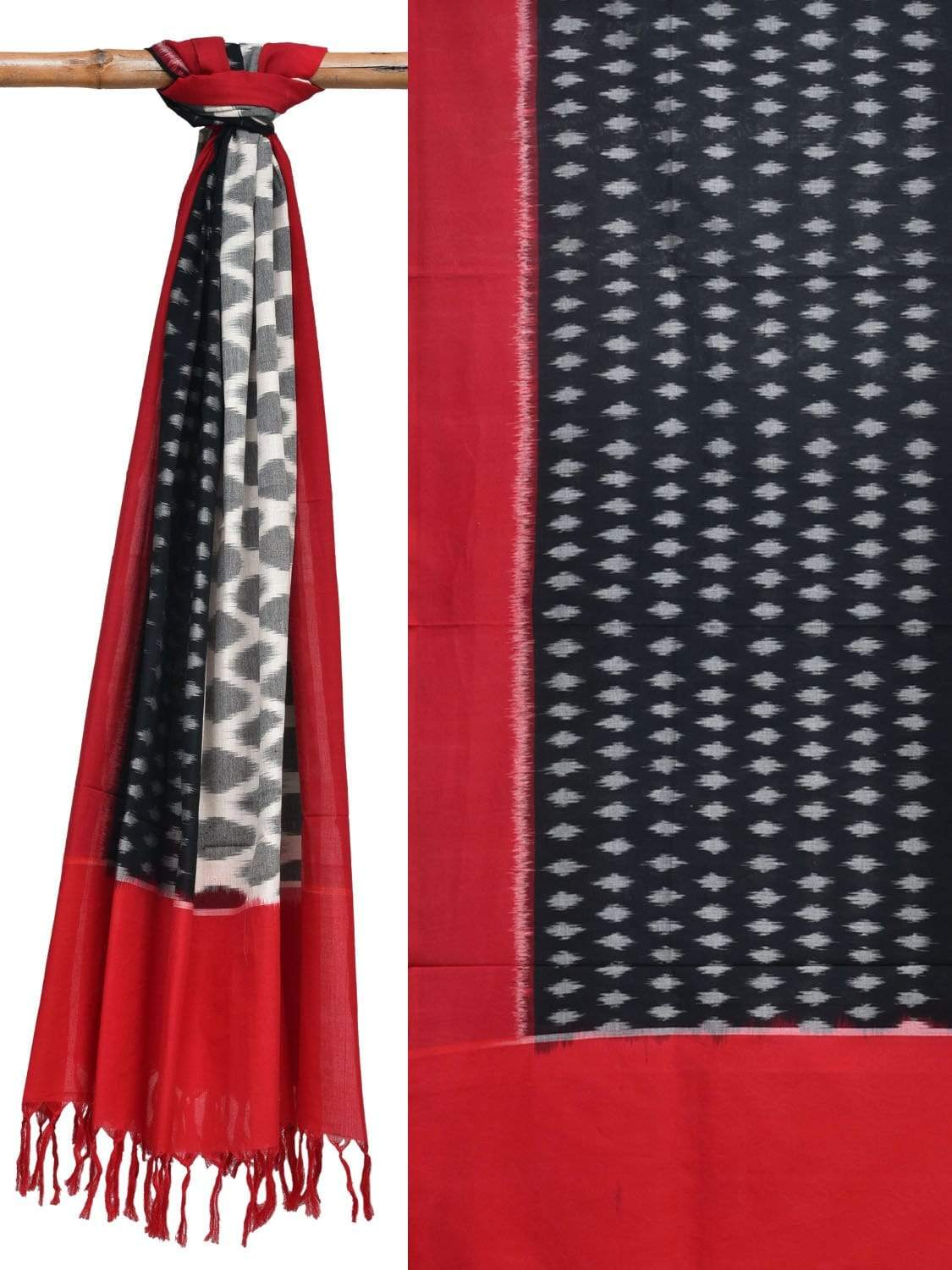 Red and Black Pochampally Ikat Cotton Handloom Dupatta with Half and Half Design ds1891