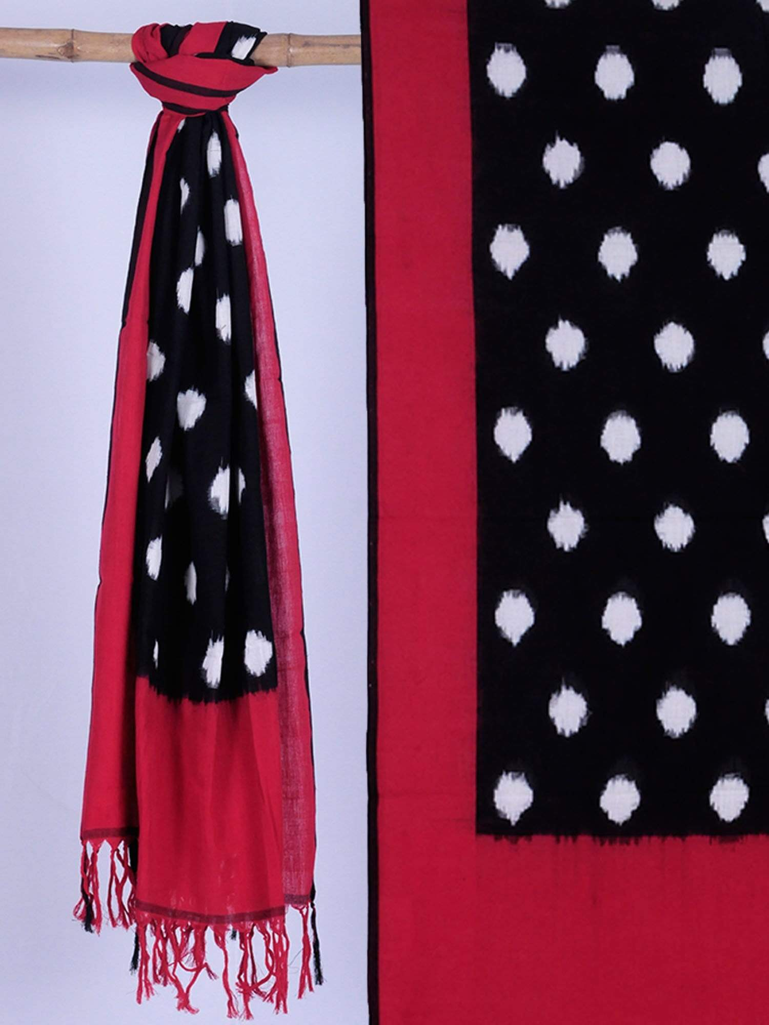 Red and Black Pochampally Ikat Cotton Handloom Dupatta with Polka Dots Design ds1094