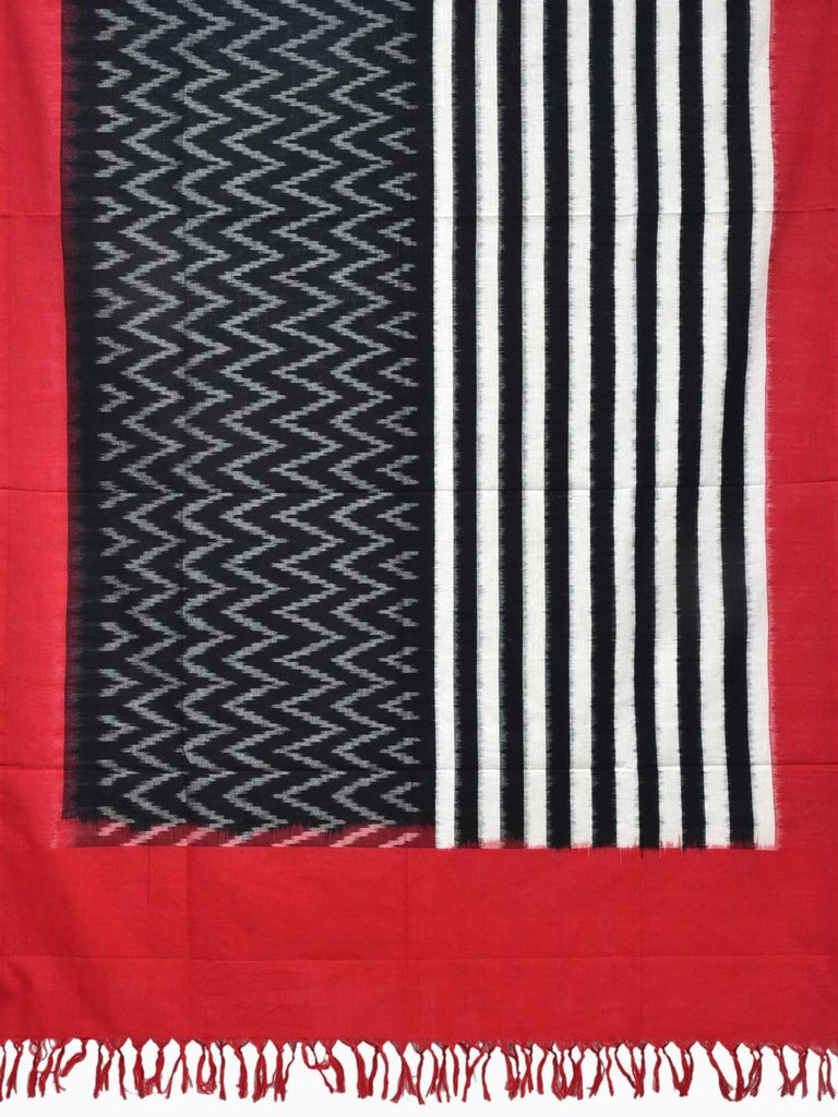 Red and Black Pochampally Ikat Cotton Handloom Dupatta with Strips and Zig-Zag Design ds1834