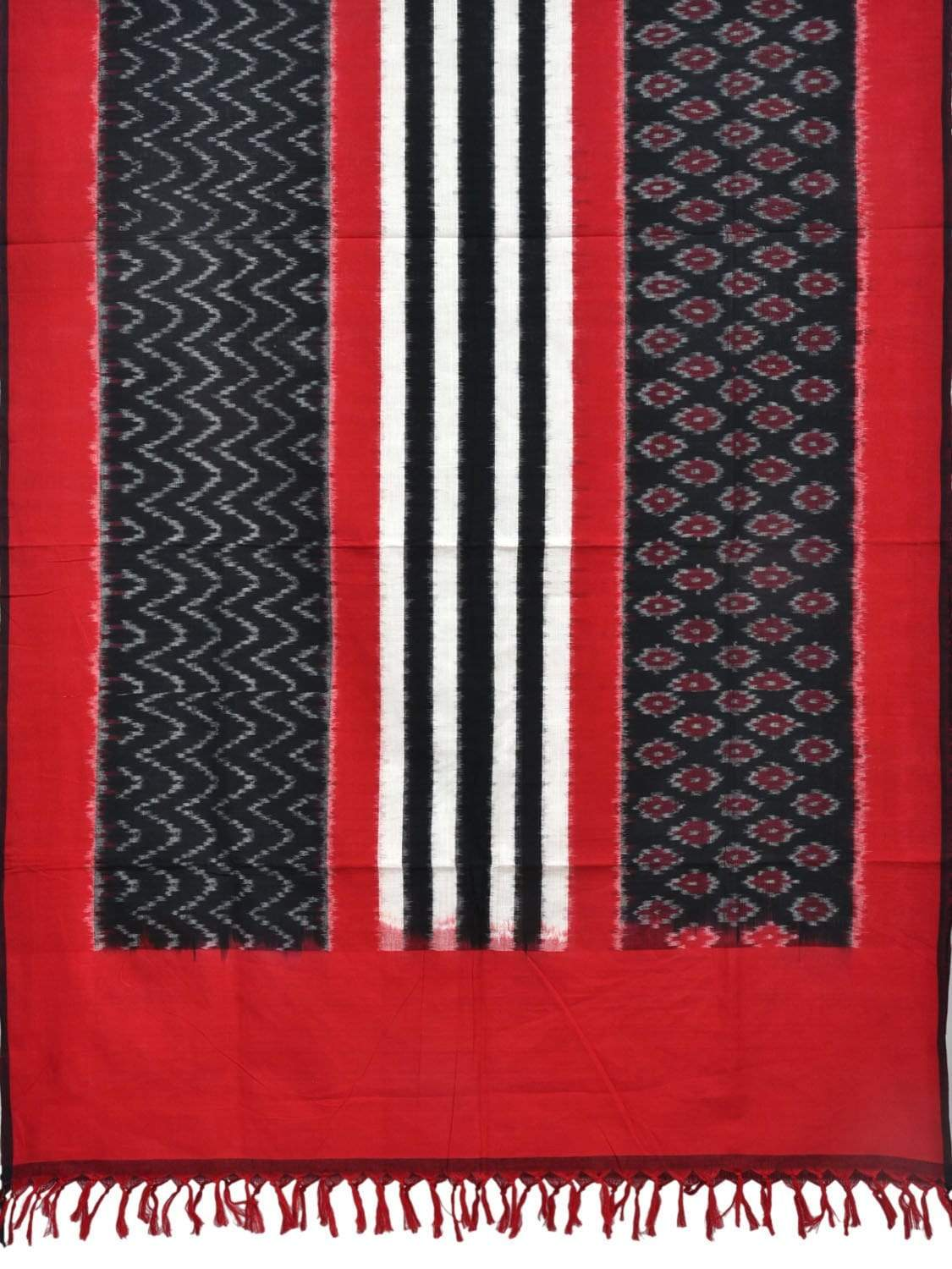 Red and Black Pochampally Ikat Cotton Handloom Dupatta with Triple Design ds1818