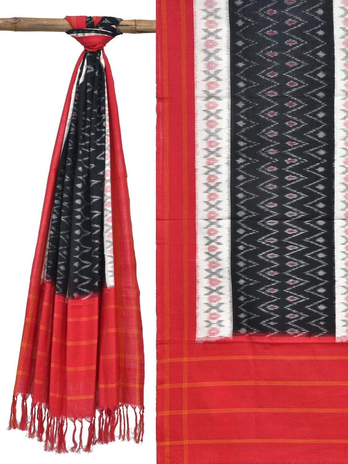 Red and Black Pochampally Ikat Cotton Handloom Dupatta with Zig-Zag Design ds1814