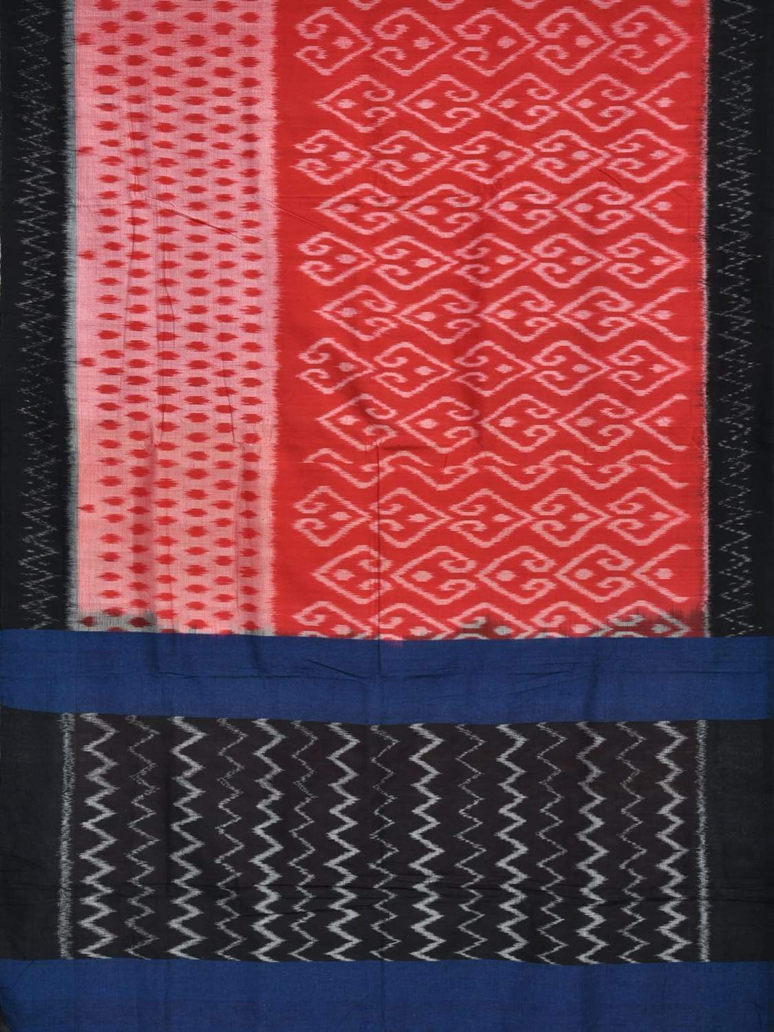 Red and Black Pochampally Ikat Cotton Handloom Saree with Border and Dual Body Design No Blouse i0528