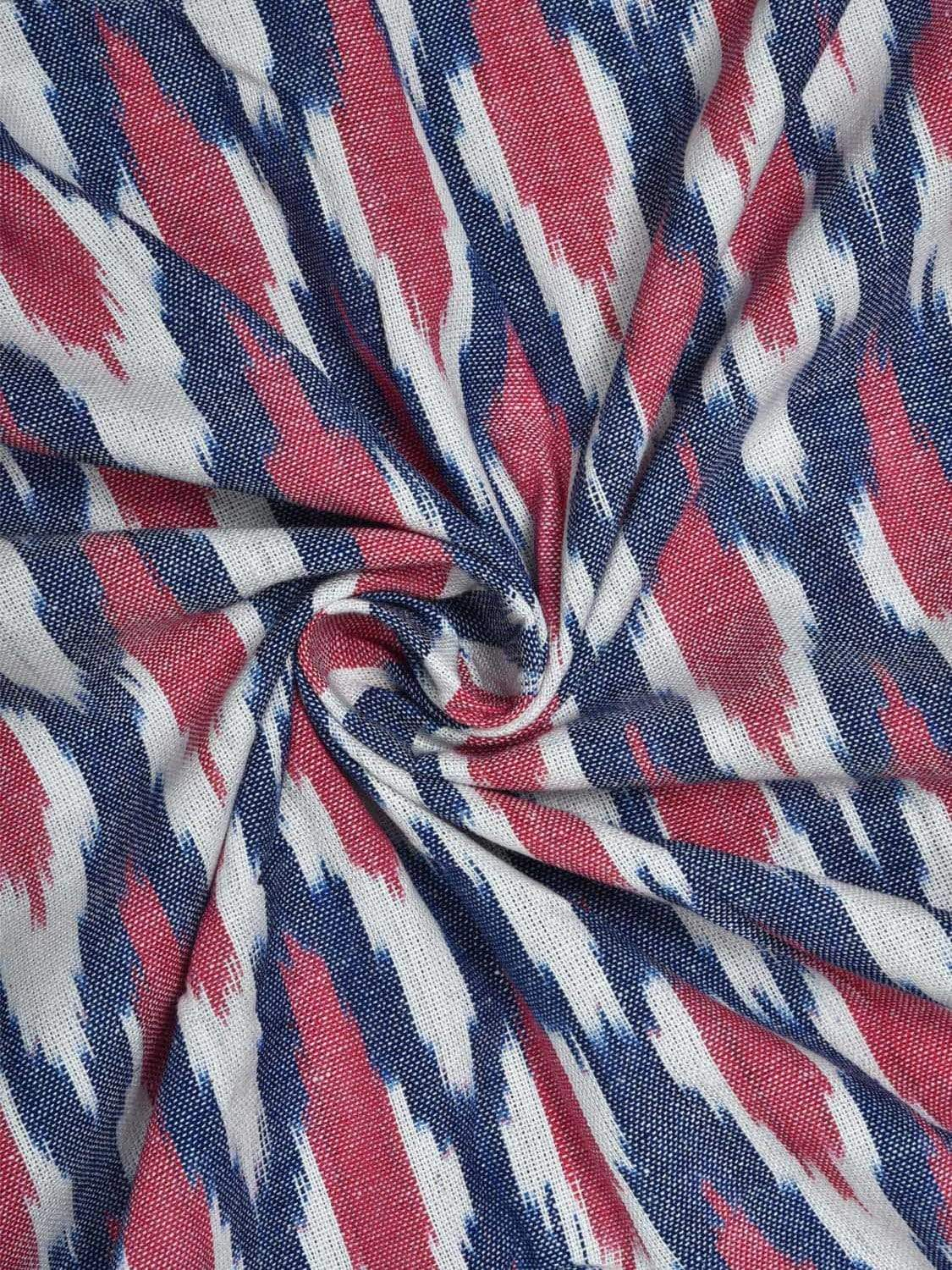 Red and Blue Pochampally Ikat Cotton Handloom Fabric Material with Grill Design f0146