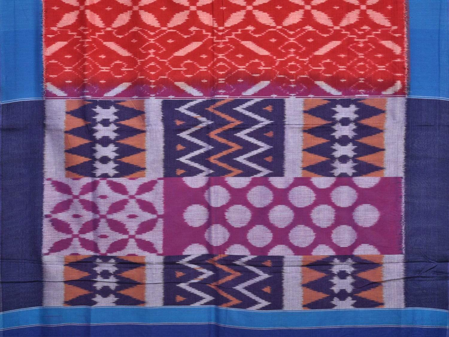 Red and Blue Pochampally Ikat Cotton Handloom Saree with All Over Design No Blouse i0526