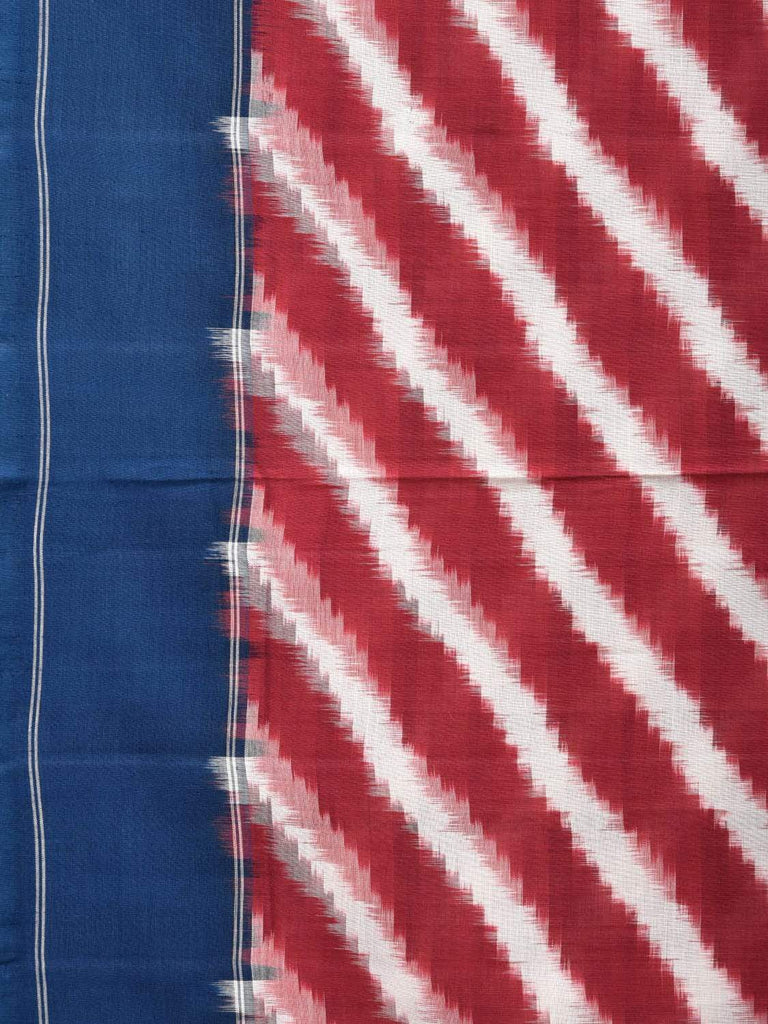 Red and Blue Pochampally Single Ikat Cotton Handloom Saree with Diagonal Design i0574