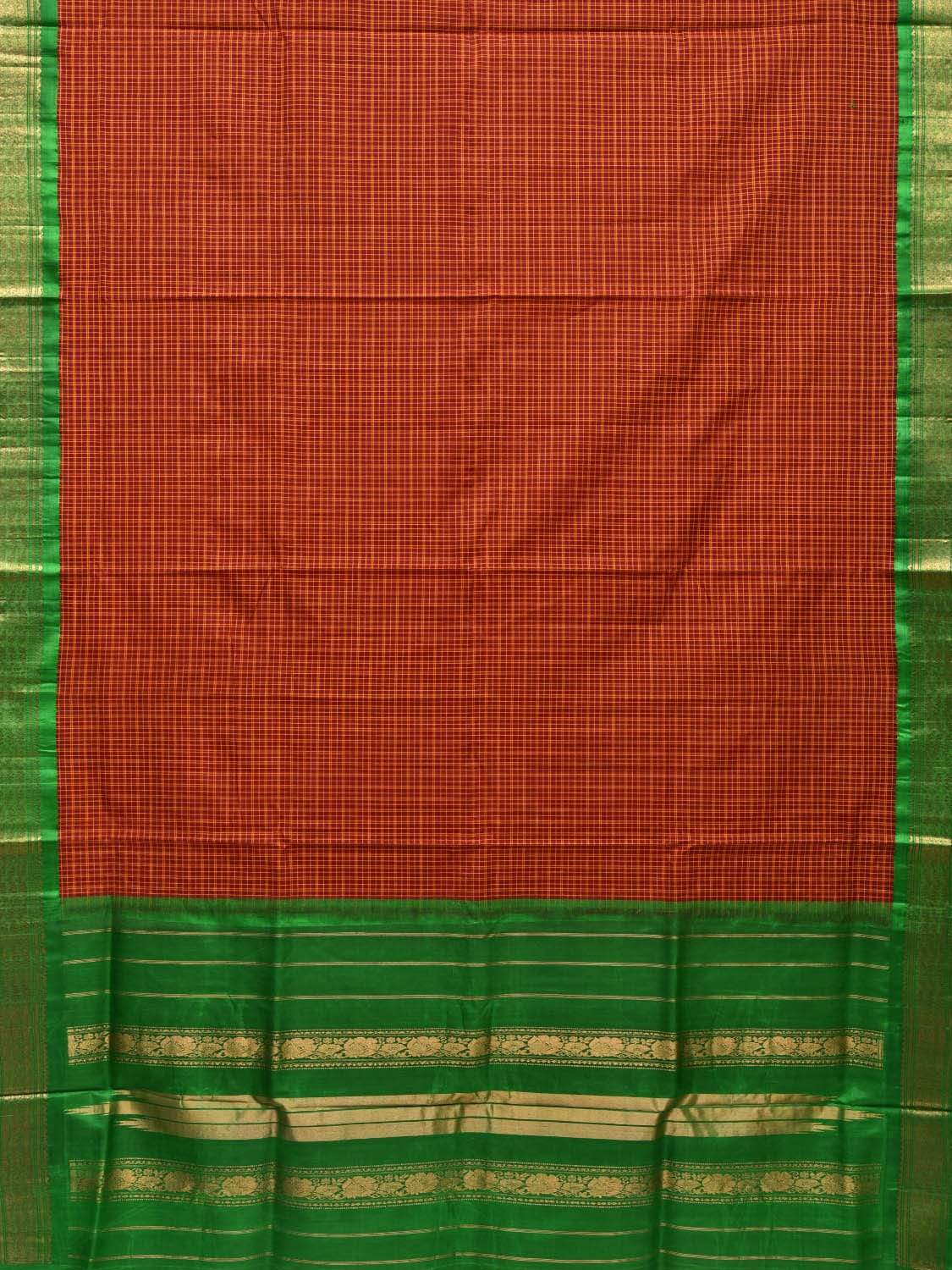 Red and Green Gadwal Cotton Silk Handloom Saree with Checks Design g0259