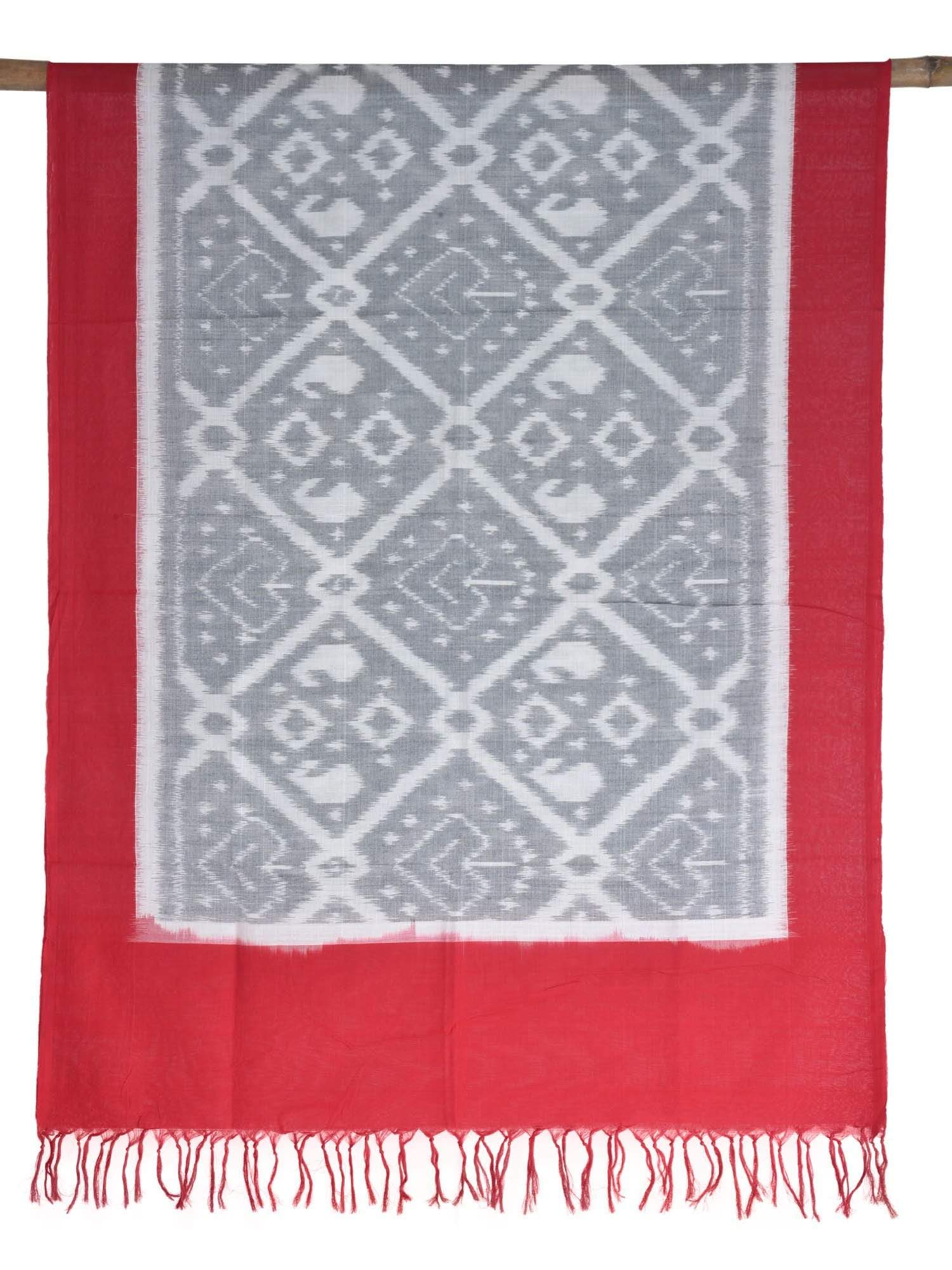 Red and Grey Pochampally Ikat Cotton Handloom Dupatta ds1632