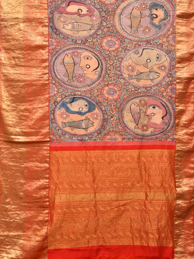 Red and Light Blue Kalamkari Hand Painted Kanchipuram Silk Saree with Face and Fish Design KL0321