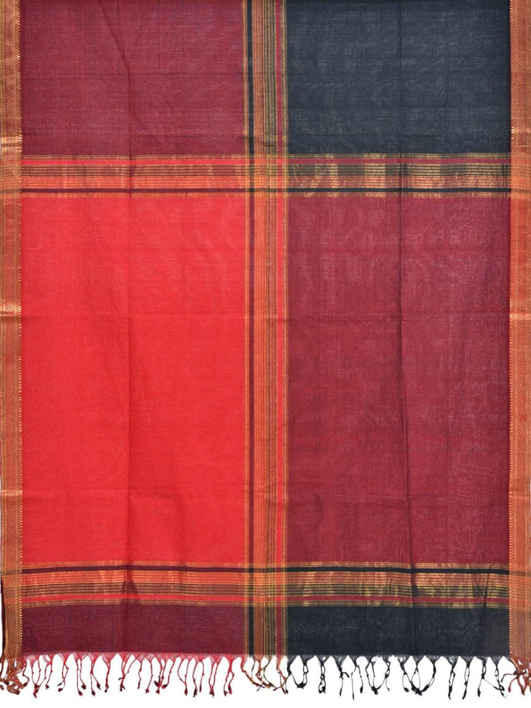 Red and Maroon Mangalgiri Cotton Handloom Dupatta with Zari Border ds1851