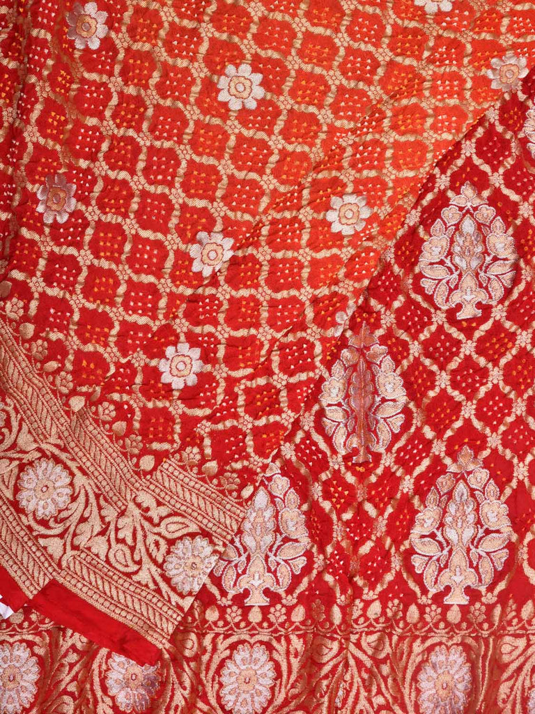 Red and Orange Bandhani Banaras Silk Handloom Saree with All Over Grill Design bn0027