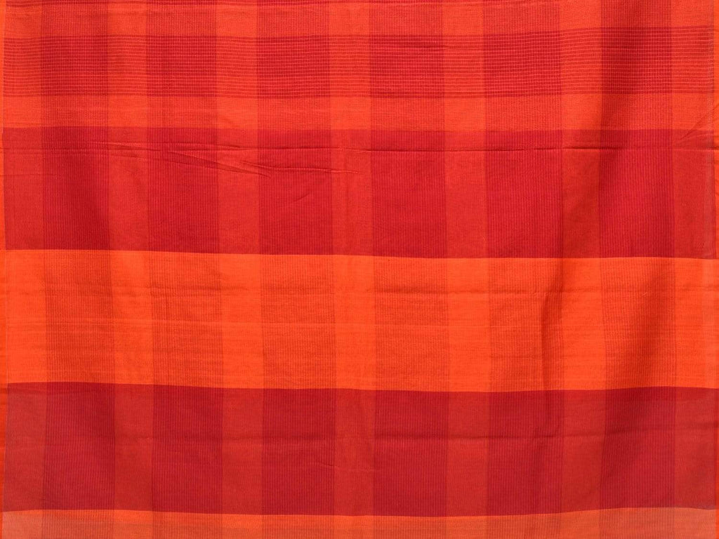 Red and Orange Soft Cotton Handloom Saree with Checks Design o0286