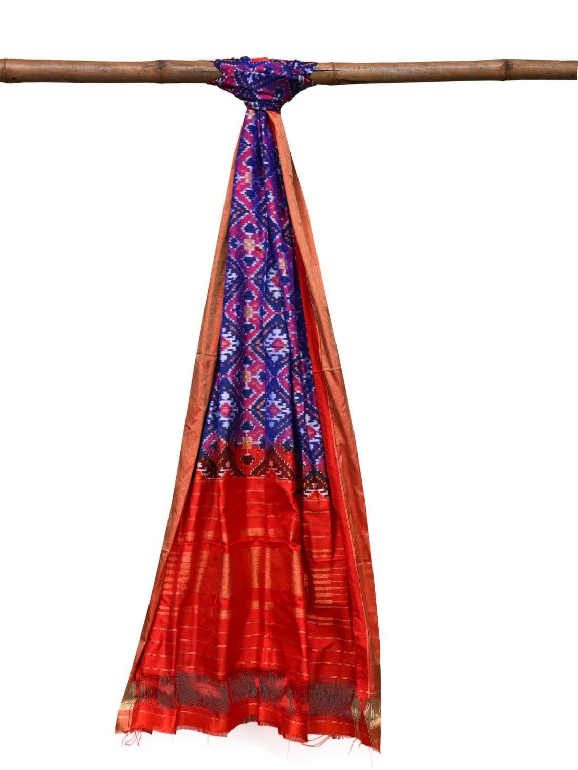 Red and Pink Pochampally Ikat Silk Handloom Dupatta with All Over Design ds2038