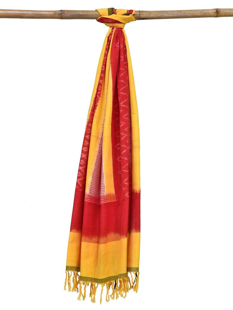 Red and Yellow Pochampally Ikat Cotton Handloom Dupatta with Triple Design ds1809