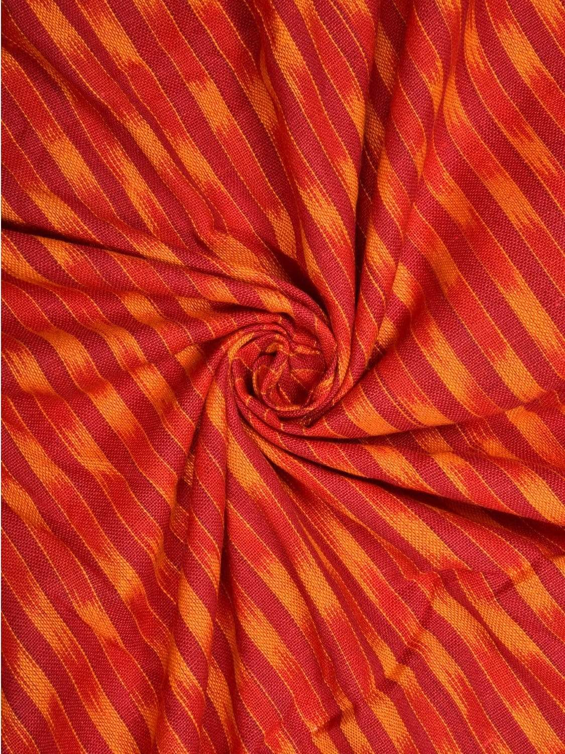 Red and Yellow Pochampally Ikat Cotton Handloom Fabric Material with Strips Design f0132