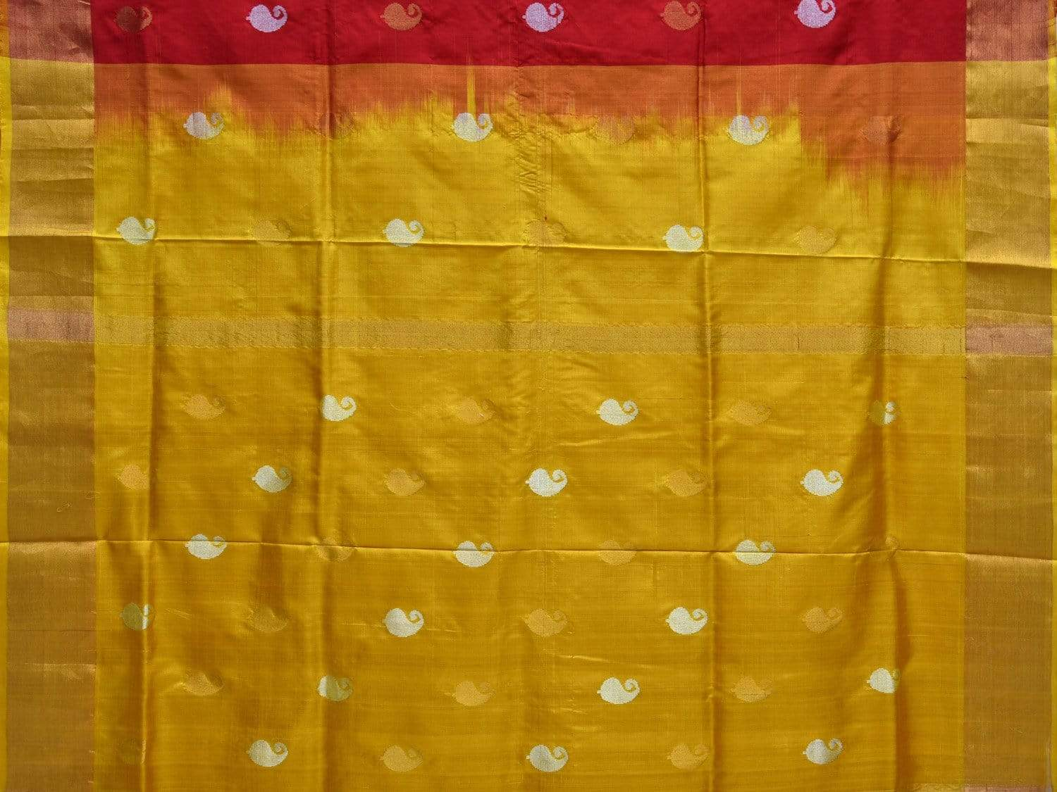 Red and Yellow Uppada Silk Handloom Saree with All Over Mango Buta Design u1594