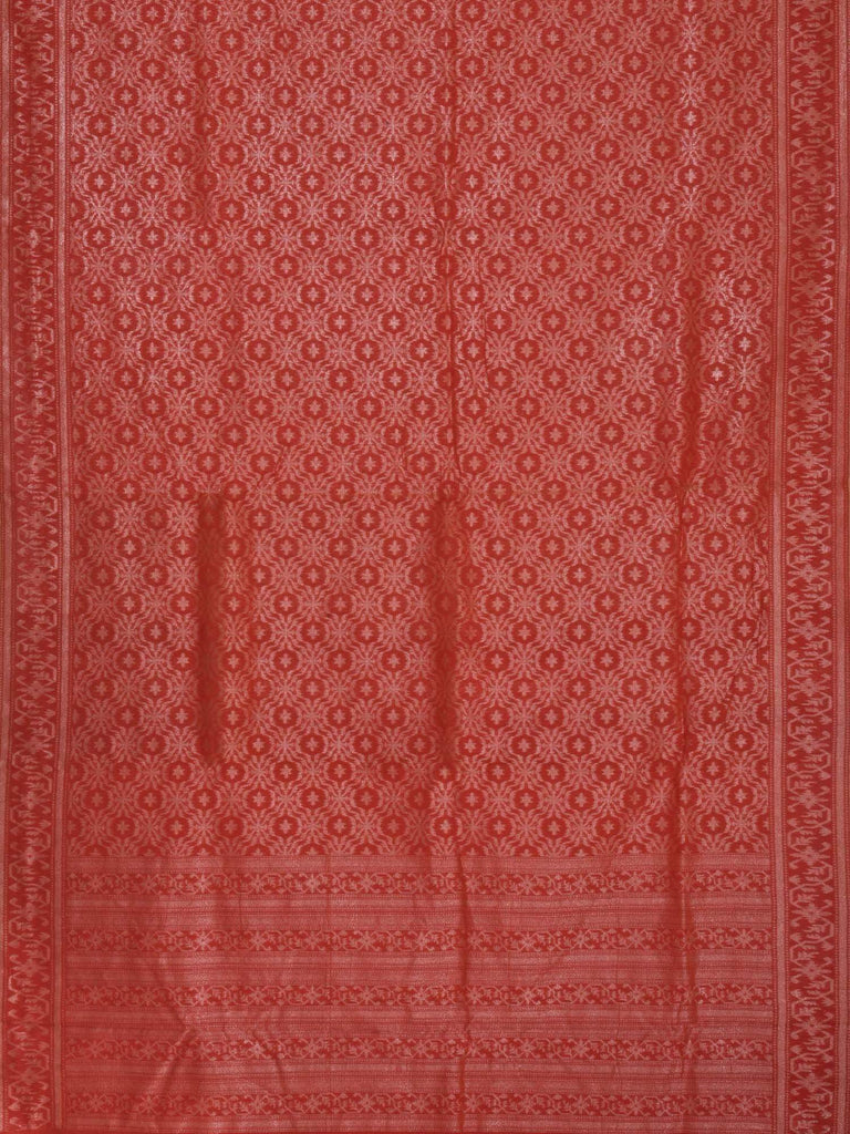 Red Banaras Cotton Handloom Saree with Cut Work Design b0242