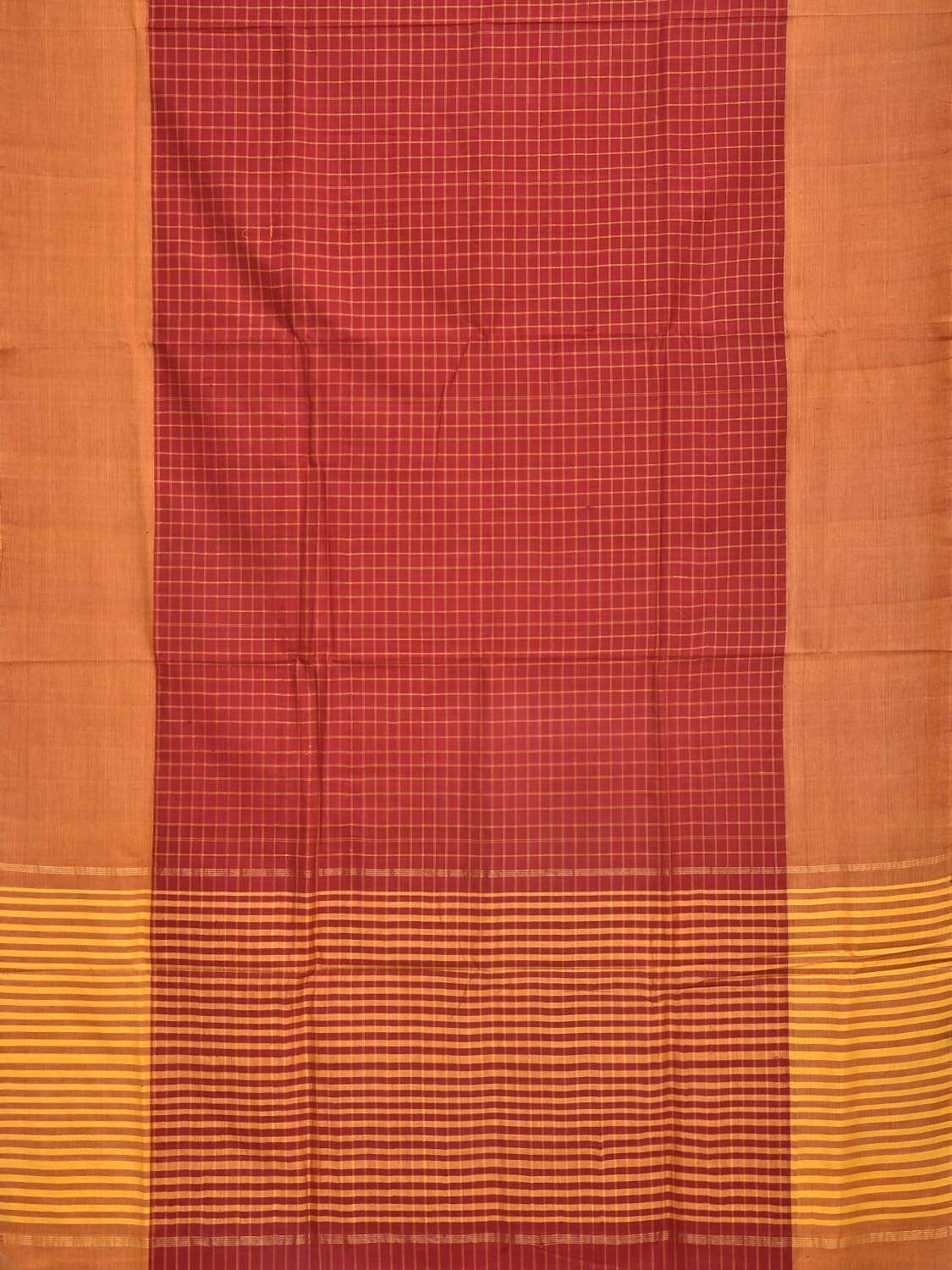 Red Cotton Handloom Saree with All Over Checks Design o0272