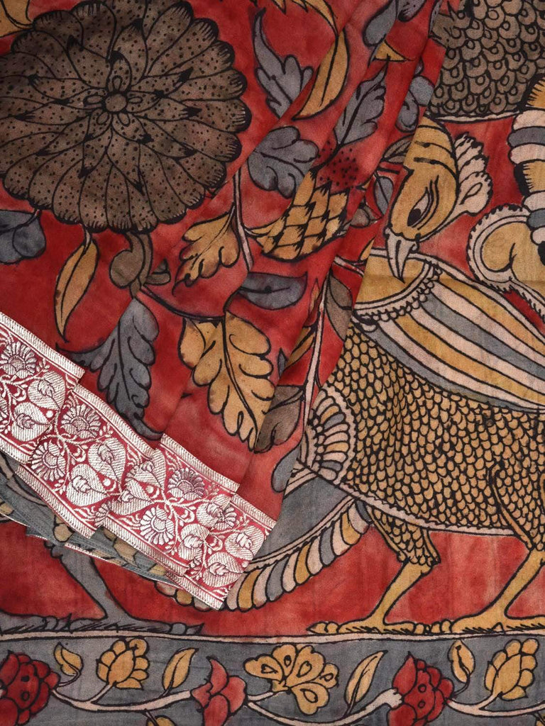 Red Kalamkari Hand Painted Georgette Handloom Saree with Peacocks Pallu and Banaras Border Design KL0270