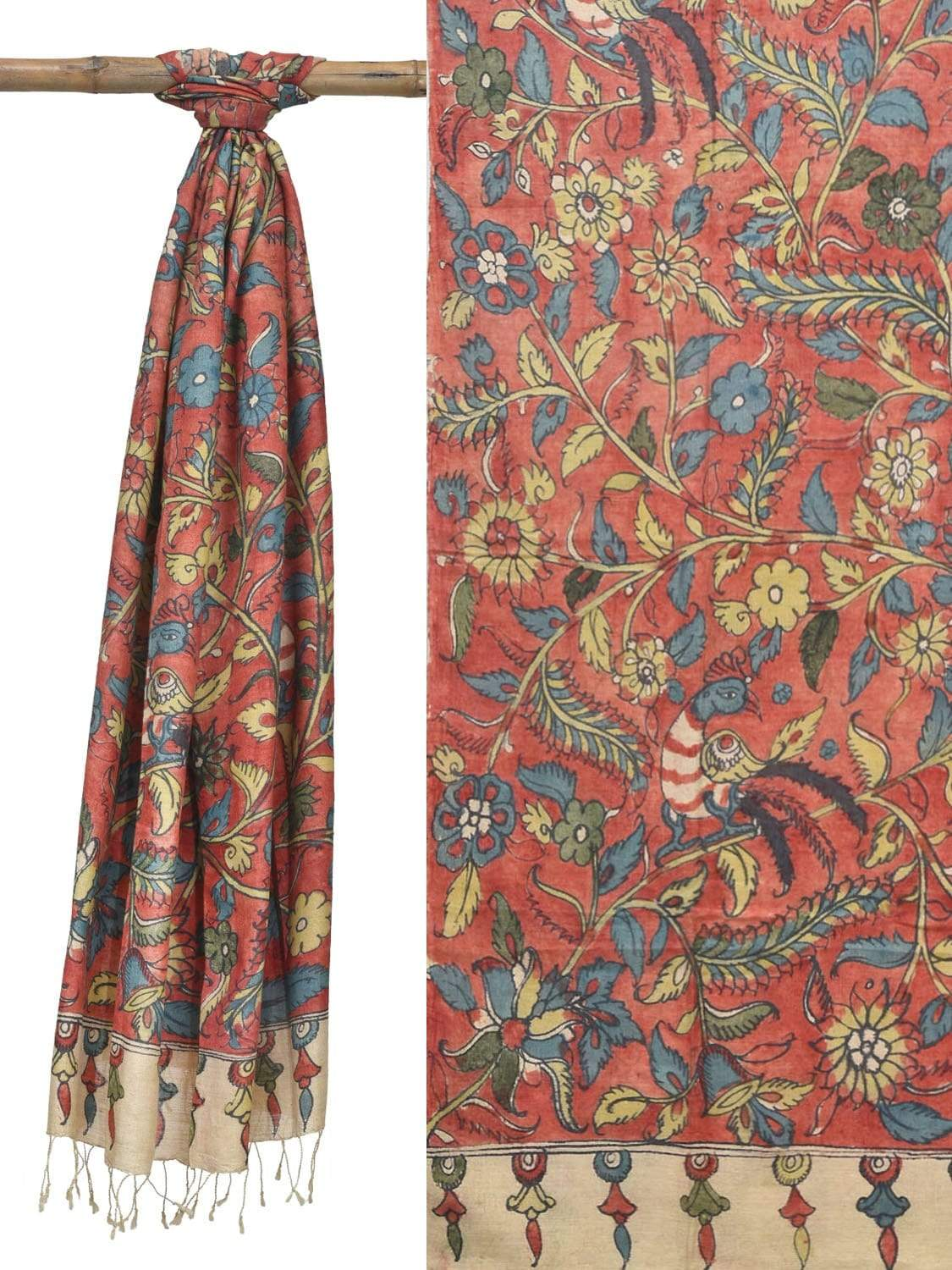 Red Kalamkari Hand Painted Muga Silk Handloom Dupatta with Peacock and Flowers Design ds1822