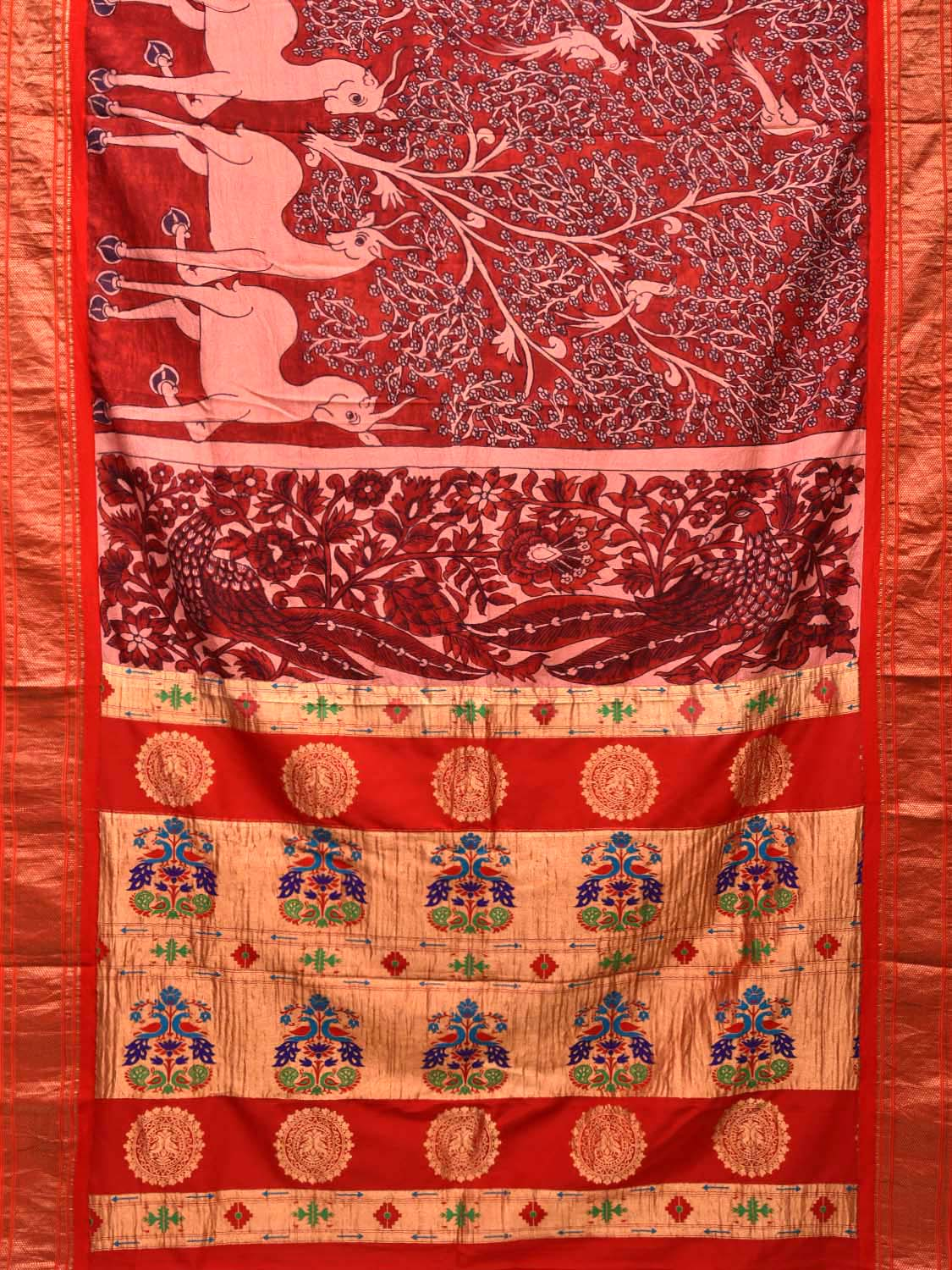 Red Kalamkari Hand Painted Paitani Silk Handloom Saree with Deers Design KL0255