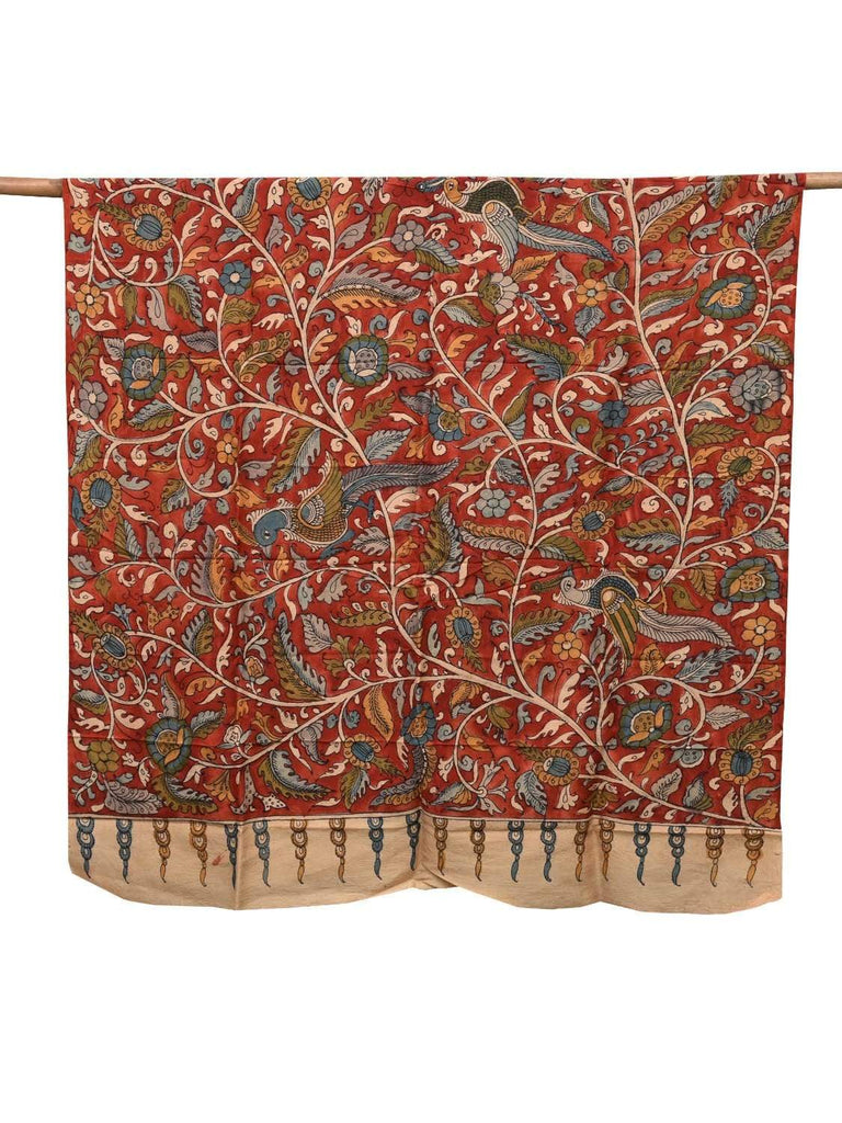 Red Kalamkari Hand Painted Silk Dupatta with Flowers and Birds Design ds2095