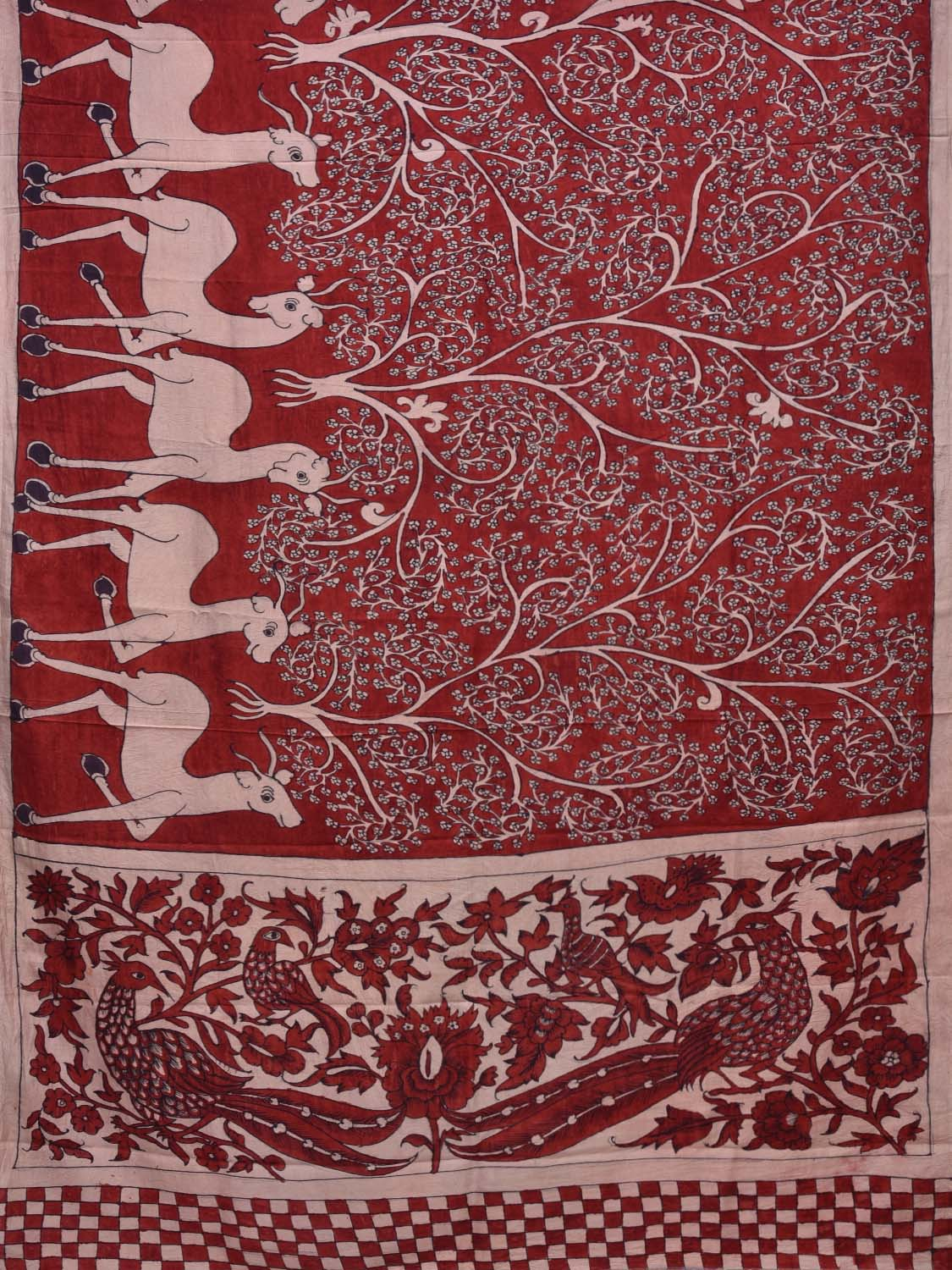 Red Kalamkari Hand Painted Silk Handloom Saree with Trees and Deers Border Design kl0207