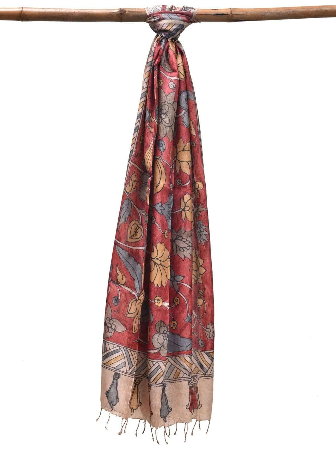 Red Kalamkari Hand Painted Tussar Dupatta with Floral and Birds Design ds1905